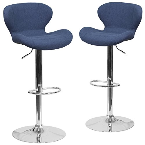 Flash Furniture 2 Pk. Contemporary Blue Fabric Adjustable Height Barstool with Chrome Base (Breakfast Bar Stools Blue)