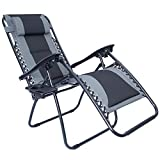 LUCKYBERRY Padded Zero Gravity Lounge Chair Patio Foldable Adjustable Reclining with Cup Holder for Outdoor Yard Porch Grey