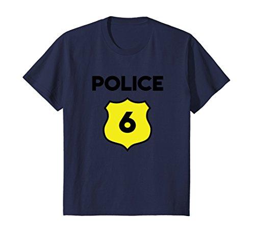 Kids Police Costume 6th Birthday Tee Shirt - Sixth Six 6 Year Old ()