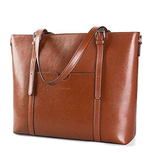 Women 15.6 Laptop Genuine Leather Shoulder Bag Work Handbag Satchel Carry-on Tote Bag in Trolley Handle by Enmain