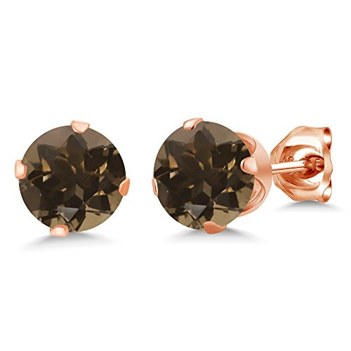 Gem Stone King Brown Smoky Quartz Rose Gold Plated Silver Stud Earrings 1.60 Cttw Round 6MM