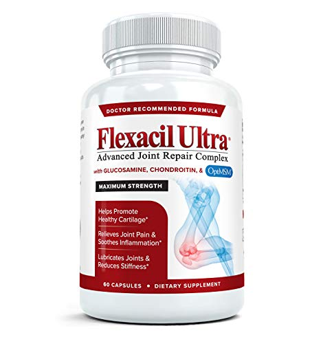 Flexacil Ultra - Maximum Strength Joint Pain Relief Supplement | Glucosamine Sulfate, Chondroitin, Hyaluronic Acid & MSM | Anti-Inflammatory for Healthy Hand, Back and Knee Function, 60 ()