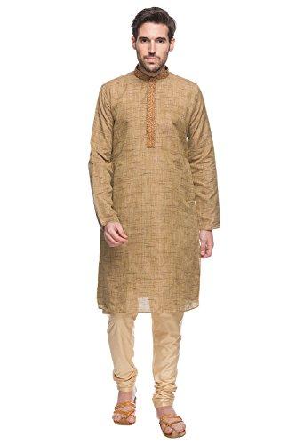 Shatranj Men's Indian Ethnic Embroidered Placket 2-Pcs Textured Suit Set; Brown; SM by Shatranj