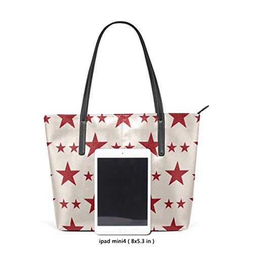 Women's Bags PU Leather Shoulder Top Handle Totes Fashion Patriotic Stars TIZORAX Purses Handbag ETqp11