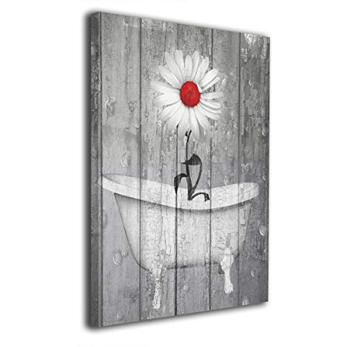 Okoart Rustic Bath Home Decor Wall Art Daisy Flower Bubbles Red Gray Farmhouse Bath Canvas Wall Art 16x20inch Artwork Art Wood Inside Framed Hanging Wall Decoration