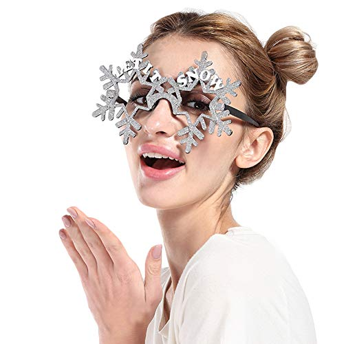Novelty Glittered Christmas Decoration Fanci-Frames Party Accessory Grey Snowflake Eyeglasses