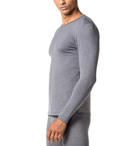 LAPASA Men's Lightweight Thermal Underwear Tops Fleece Lined Base Layer Long Sleeve Shirts 2 Pack M09 (Medium, Dark Grey)