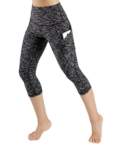 ODODOS High Waist Out Pocket Yoga Capris Pants Tummy Control Workout Running 4 Way Stretch Yoga Capris Leggings,SpaceDyeMattBlack,Large