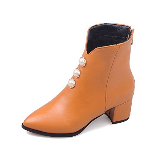 AllhqFashion Women's Zipper Pointed Closed Toe Kitten-Heels PU Low-Top Boots, Yellow, 41