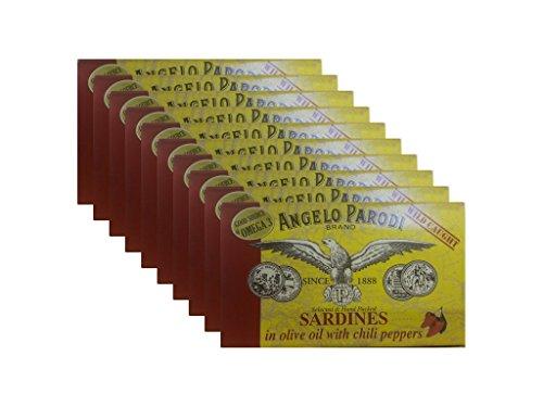 Angelo Parodi - Sardines in Olive Oil with Chili Peppers (10-pack) (Angelo Parodi Sardine Portoghesi All Olio Di Olivo)