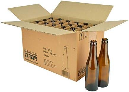 Botella de Cerveza Vichy 33 Cl, en Caja de Cartón 24 ST. – Reutilizables Marrón mehrwegflasche de Cristal Botella de Cerveza para 26 mm Corona Corcho – 0,33 l: Amazon ...