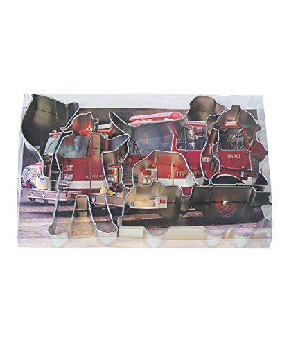 R&M International 1851 Fire Truck Cookie Cutters, Firefighter, Truck, Helmet, Hydrant, Dog, 5-Piece Set -