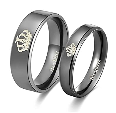 644fb281024 2pcs Moneekar Jewels Her King His Queen Titanium Stainless Steel Black Band  Set Anniversary Engagement Promise Valentines Day Rings for Couples