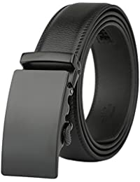 Men's Leather Belt-Ratchet Dress Belt with Automatic Solid Buckle