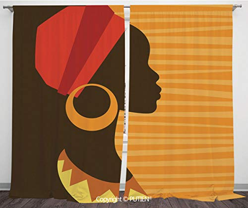 Satin Window Drapes Curtains [ Afro Decor,Girl Profile Silhouette with Earrings Grace and Elegance Icon Image,Dark Brown Merigold ] Window Curtain Window Drapes for Living Room Bedroom Dorm Room Class