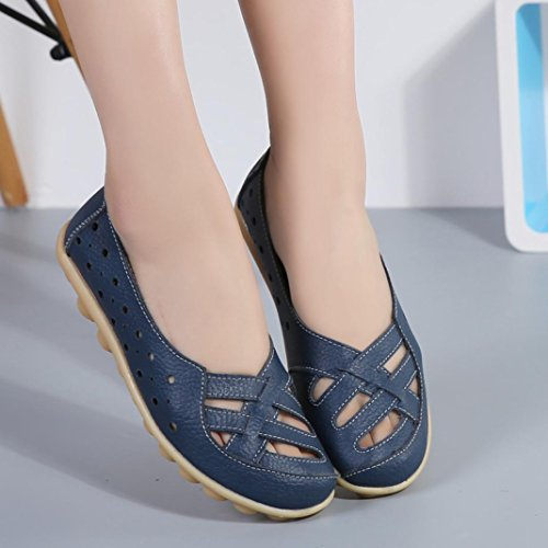 Womens Loafers ,Clode® Fashion Ladies Casual PU Leather Loafer Moccasin Slip On Soft Sole Ballet Dancing Shoes for Holiday,Work ,Office Dark Blue