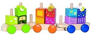 Hape Fantasia Building Blocks Toddler Push and Pull Train Set