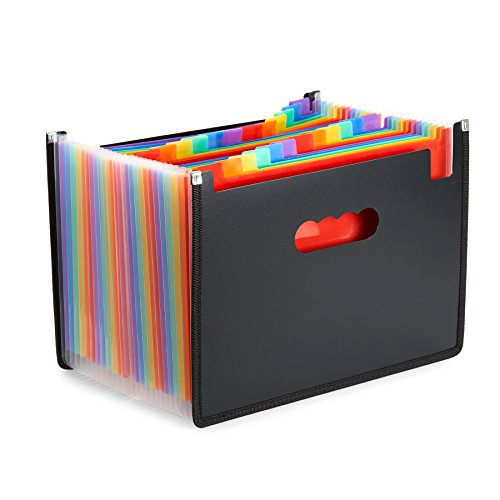 Expanding Vertical Reinforced Wallet - Blue Summit Supplies Accordion File Folder, 24 Pocket Expanding Organizer, A4 Letter Size Document Holder, Rainbow Multicolor