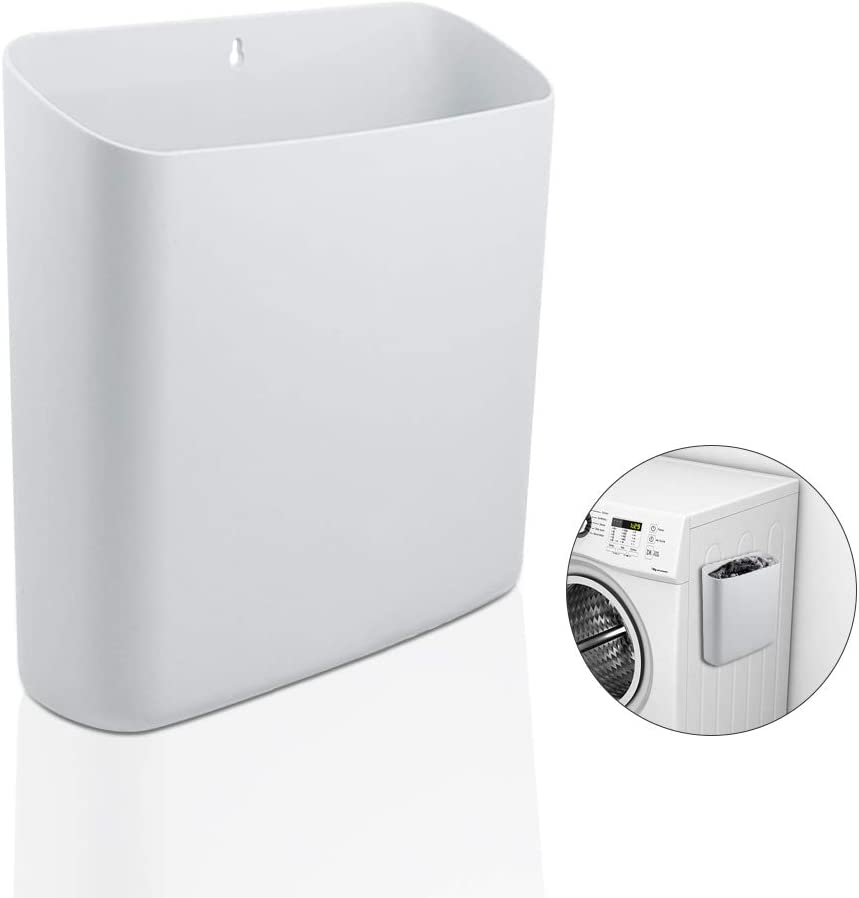 Picowe Magnetic Laundry Storage, Large Lint Holder Bin for Laundry Room, Space-Saving Trash Container Hanging on Dryer, Washer or Wall Mount Trash Bin (White)