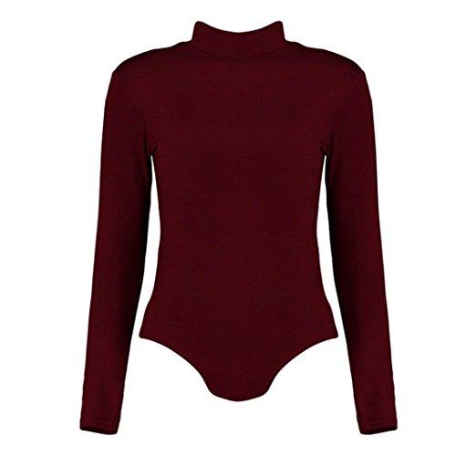 Zarupeng Damen Jumpsuit Langarm Hohen Kragen Einfarbig Clubwear Playsuit Bodycon Overall Rot