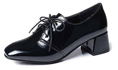 Noir Lacets Aisun de Derbies à Chaussures Femme Mode Chunky Ville w1vYqz6v