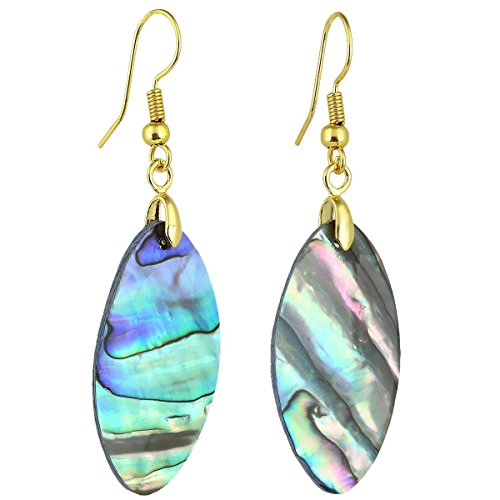 SUNYIK Simple Rainbow Abalone Shell Dangle Earrings for Women, Oval Gold Plated