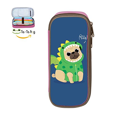Cute Pug Dragon Costume Pencil Case Pen Bag Durable Students Funny Stationery Double Zipper Pink ()