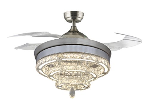 42 Inches Diameter Retractable Invisible Four Blades Ceiling Fans Remote Control Led Light Kit Crystal Chandelier Indoor Living Bedroom-Chrome