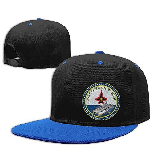 USS George H. W. Bush CVN-77 Crest Men Women Hip Hop Hat Trucker Flat Hats Adjustable Snapback Hats Blue ()