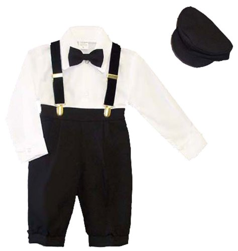 Infants & Toddlers 5-pc Knickers Outfit Tuxedo Style Suspenders, Bowtie, Cap
