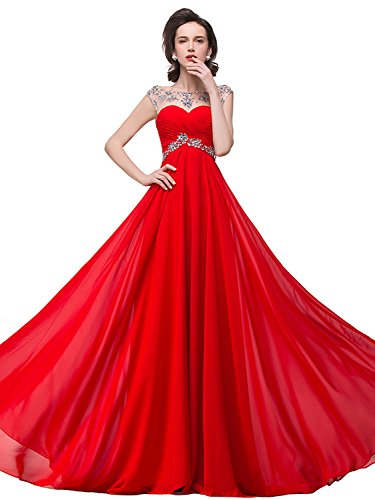 Beaded Chiffon Long Prom Dresses 2015 for Women Party,  red, 2