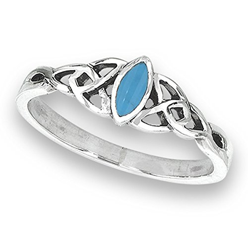Sterling Silver Women's Celtic Trinity Knot Simulated Simulated Turquoise Filigree Ring (Sizes 4 - 8)