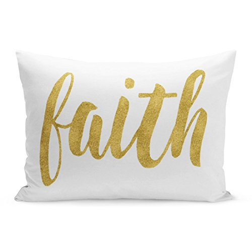 Abakoyi Throw Pillow Cover Unique Modern Faith in Gold Popular Word Religion Quote Decorative Pillow Case Home Decor 20x30 Inches Pillowcase by Abakoyi