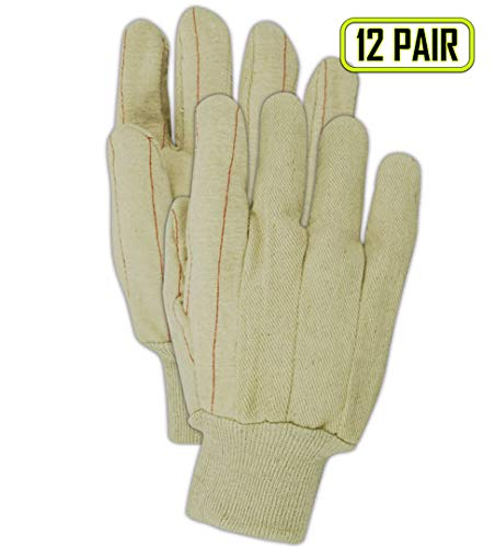 MAGID 596K Cotton Heavy Duty Double Ply Hot Mill Glove, Work, Men Size, Natural (12 -