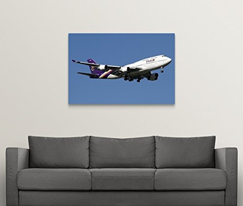 Luca Nicolotti Premium Thick-Wrap Canvas Wall Art Print entitled Boeing 747-400 of Thai International Airways 48''x32'' by Canvas on Demand