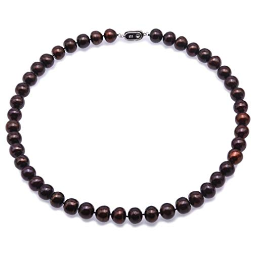 JYX Pearl Necklace AA+ 10.5-11.5mm Black Flat Freshwater Cultured Pearl Necklace for Women 18