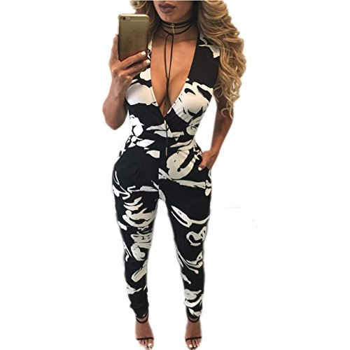 Xuan2Xuan3 Women Sleeveless V Neck Sexy Party Club Long Jumpsuit Rompers Bodysuit (Leisure Suits For Sale)