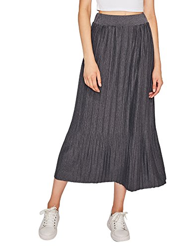 MakeMeChic Women's Solid Elastic Waist A-line Pleated Skirt Dark Grey one-size