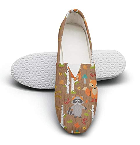 - Fox bear rabbit bats are in the forest Womens Ladies Plimsolls for womens Classic Highly Breathable