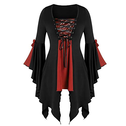 LOKODO Women Halloween Gothic Costume Plus Size Long Sleeve Tops Sequined Blouse Lace Up Tunic Tee Ball Gowns Dress Red XL