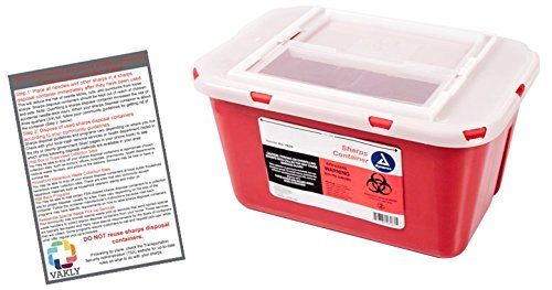 Sharps Container 1 Gallon - Plus Vakly Biohazard Disposal Guide (1 Pack)