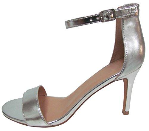 Cambridge Select Donna Open Toe Cinturino Alla Caviglia Con Fibbia A Spillo Stiletto Con Tacco Medio Argento Sandalo