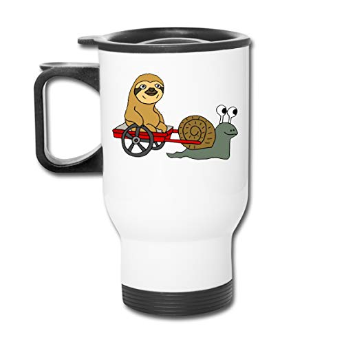 Funny Cool Sloth in Red Wagon Pulled 15oz Double Wall Stainless Steel Vacuum Insulated Travel Mug Coffee Cup with Splash-Proof Lid