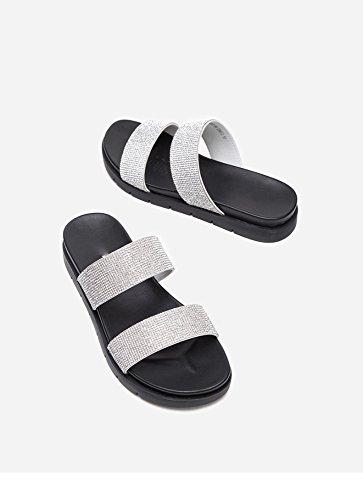 da casual Pantofole piatti donna Sandali Tacchi a tacco 37 alti con basso tacco bianca alla DHG basso estivi Sandali Sandali moda wfEqxzt