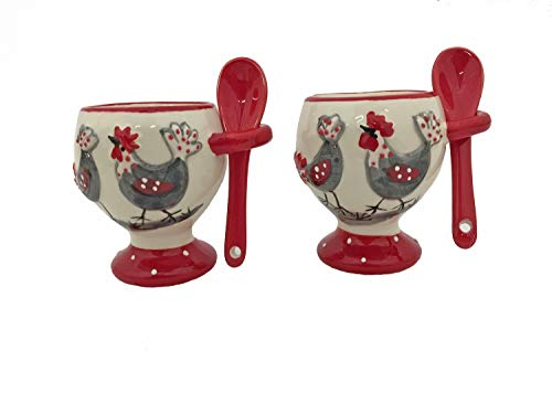 (Terre 043206 Set/2 White Ceramic Egg Cup Holders with Hen Design and Red Spoon)