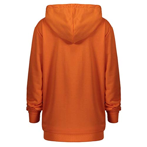 Manches Tops Femme Bringbring Halloween Citrouille Imprim Longues Capuche Sweat Orange fwxqAt6