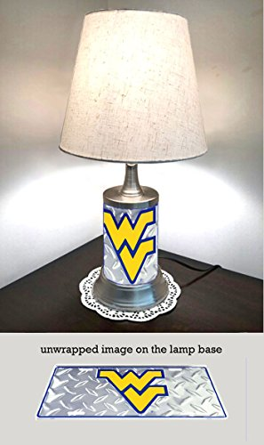 JS Table Lamp with Shade, West Virginia Mountaineers Plate Rolled in on The lamp Base, Base Wrapped with Diamond Metal Plate