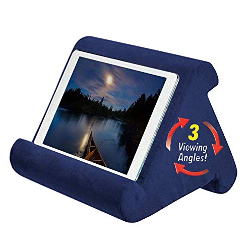 MIZZLES Multi-Angle Soft Pillow Lap Stand for iPads, Universal Pillow Lap Stand for Tablets, IPad Phone Book Reader Holder Rest Lap Reading Cushion (Navyblue)