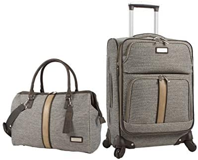 Nicole Miller 2 Piece Softside Luggage Collection – Expandable Lightweight Suitcase Set Includes 19 Inch Satchel and 20 Inch Carry On with Rolling Spinner Wheels Cameron Tan