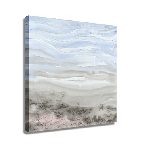 Abstract Landscape - iPainting Modern Abstract Soft Landscape Canvas Framed Wall Art Set - Water Wave Seascape River Picture Painting Decoration with Blue and Gray Yellow Color-Stretched and Framed Ready to Hang